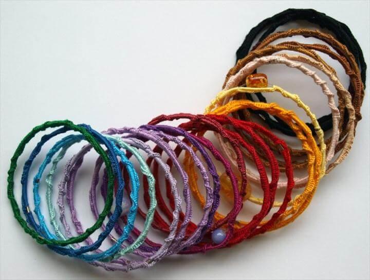 Crochet Bracelet Rings, crochet bangles