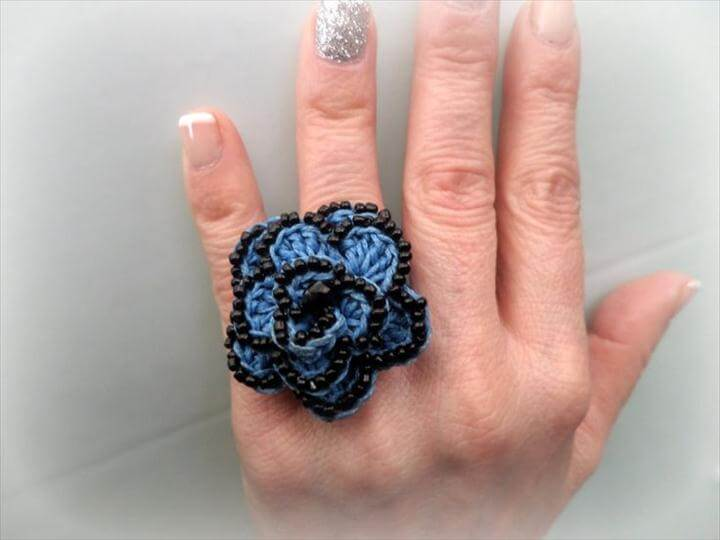 Crocheted Flower Ring, Blue waxed Cord & Black Beads, Celebration Gift, Crocheted Jewelry