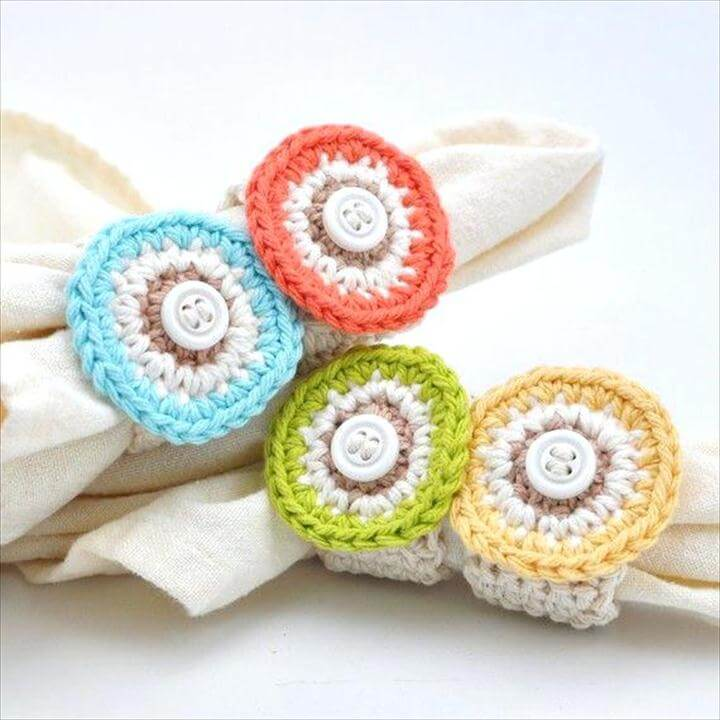 Shabby Chic Napkin Rings Shades Of Spring Shabby Chic Crochet Circle Napkin Rings Colorful Home Shabby