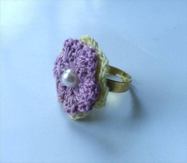 stitch a knit or crochet ring. Diy Crochet Flower Ring