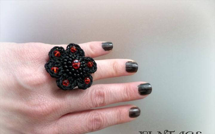 crochet black flower ring
