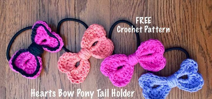 Crochet Hearts Bow Pony Tail Holder