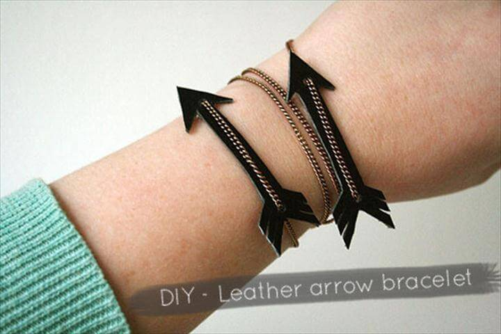 diy leather arrow bracelet