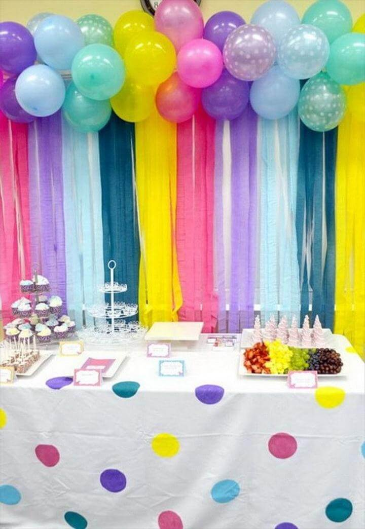 Adorable Balloon and Streamers Backdrop