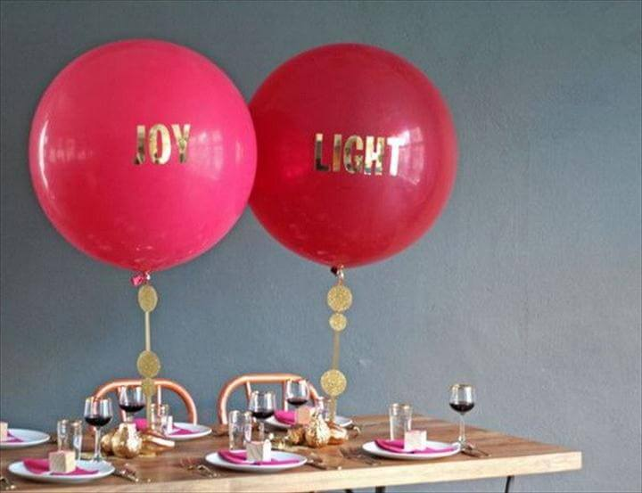 DIY Balloon Centerpiece With Vinyl Letters