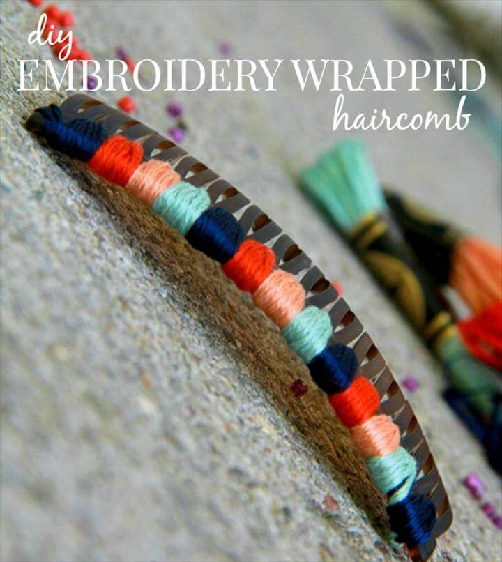 diy hair accessories embroidery hair comb