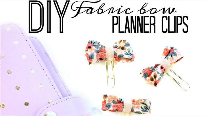 Fabric Bow Planner Clip | No Sew | DIY Mother's Day Gift Ideas