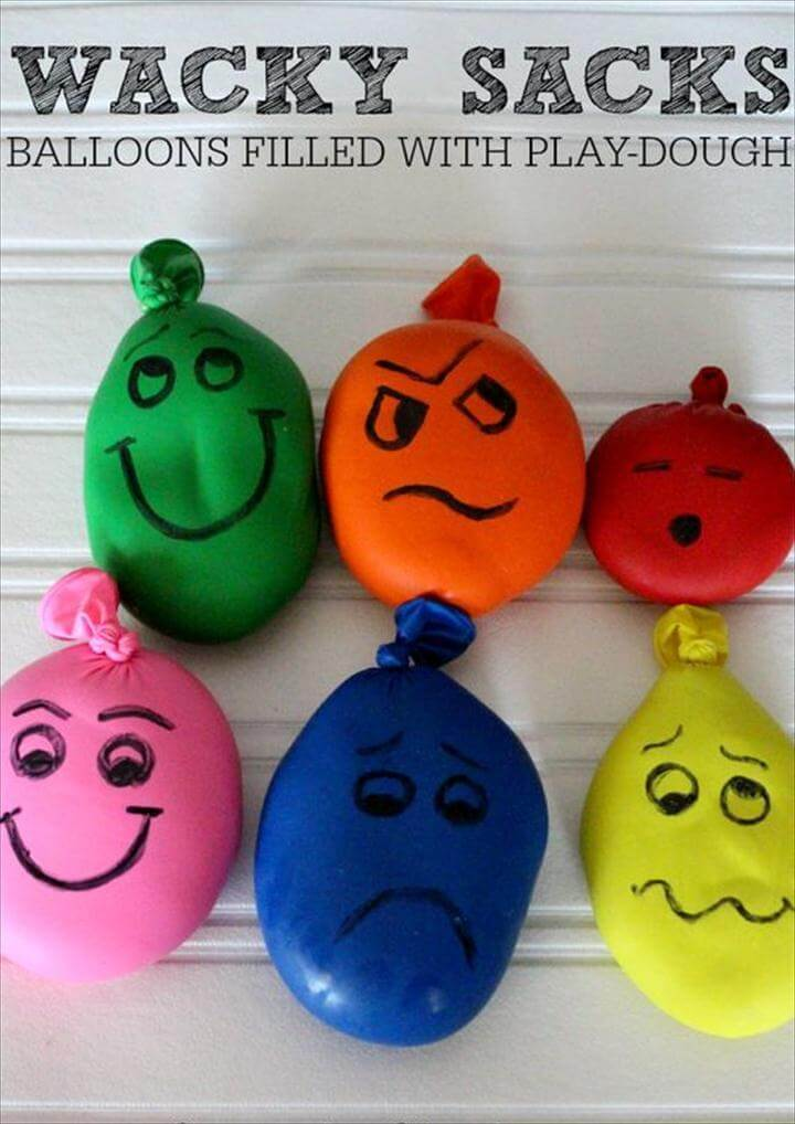Wacky Sacks Stress Balls- Balloons filled with Playdough