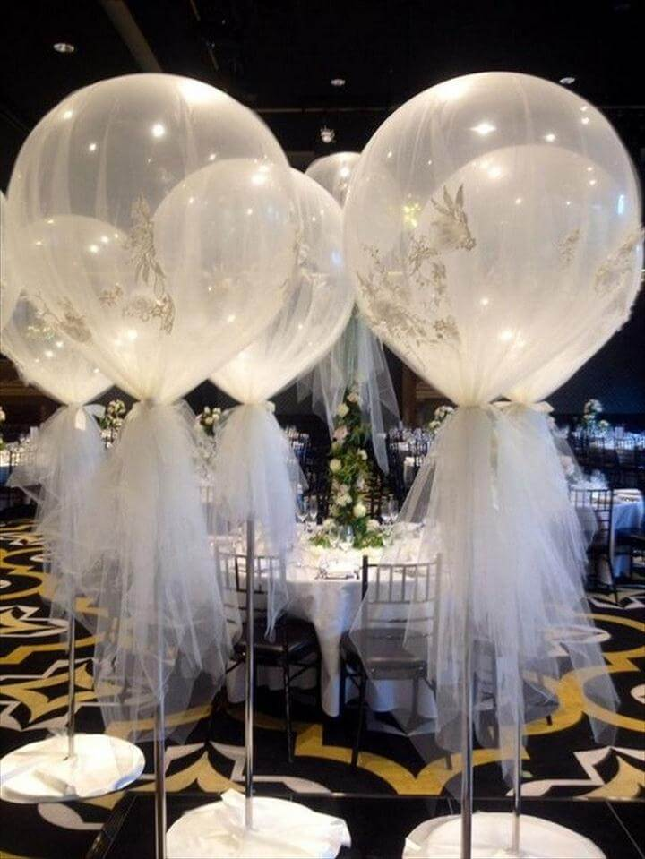 Giant Balloon Wrapped in Tulle