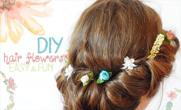 diy hair flowers tucked
