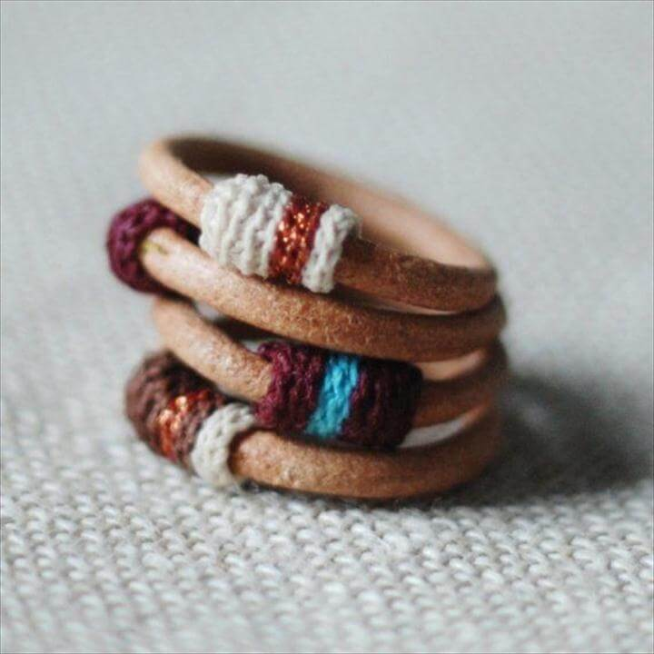 leather & crochet rings