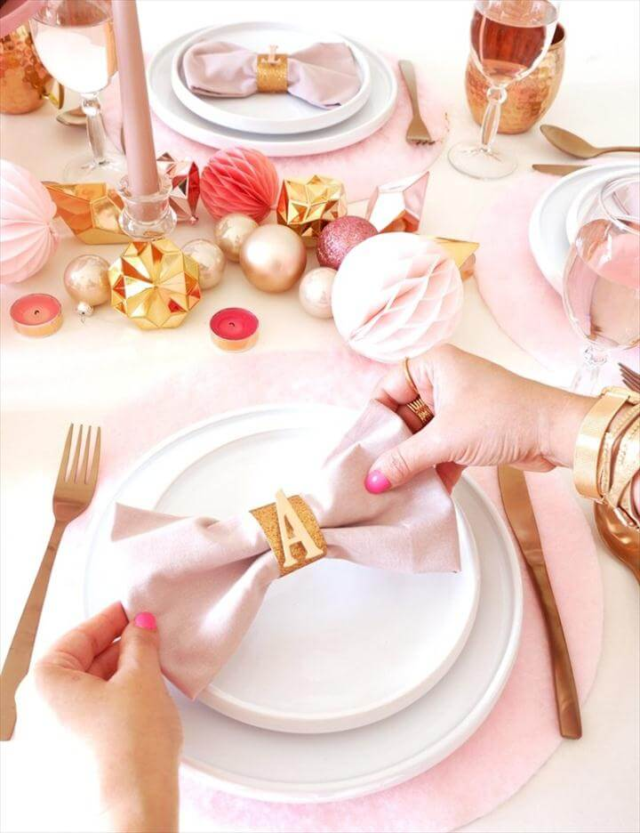 DIY Pink Bow Napkins & Copper Monogram Napkin Rings - learn to craft these quick and