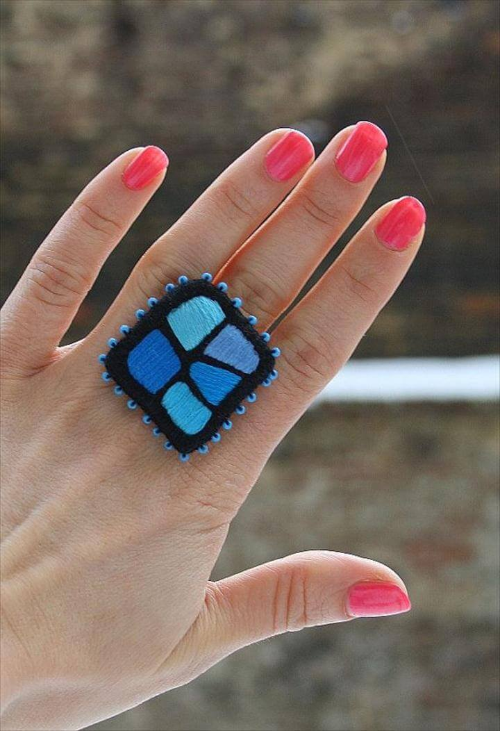 Hand Embroidery Ring Color Mosaic Blue