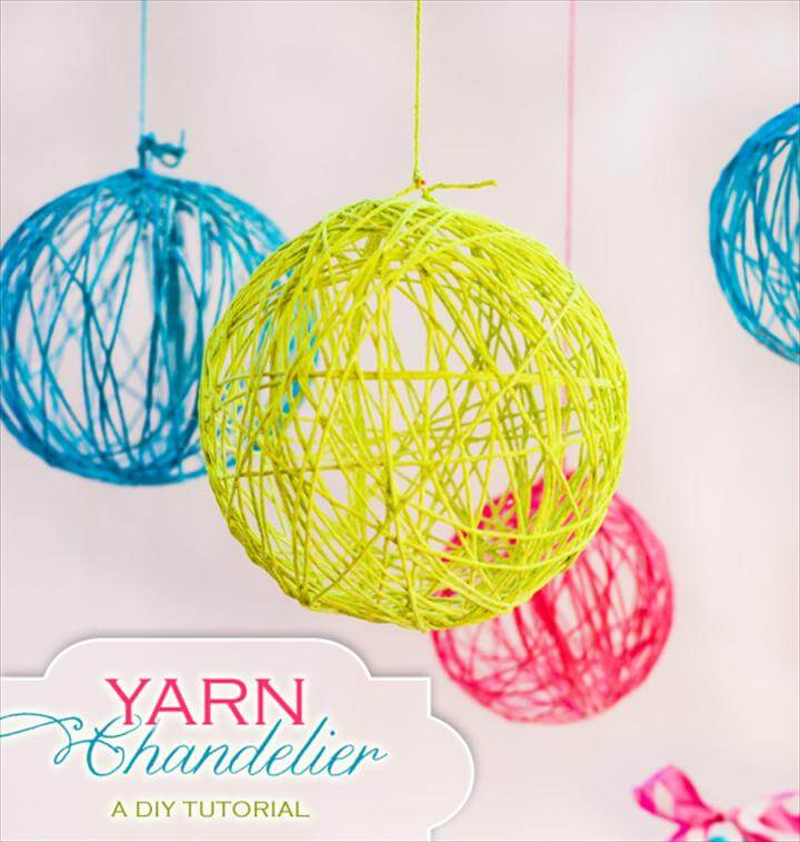 DIY Yarn and Balloon Ball Chandelier Tutorial