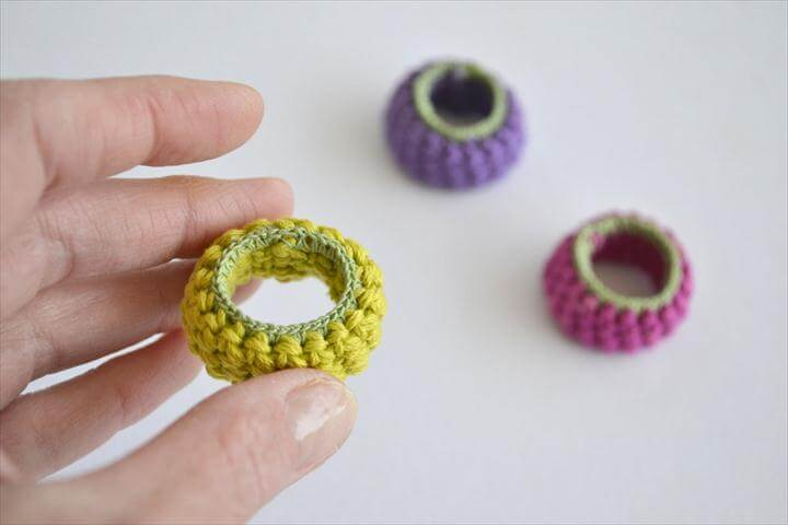 3 colorful crochet ring, Colorful crochet rings,3 funky rings, neon textile jewelry, best friend rings, playful jewelry, friendship ring, lime, fuchsia, purple set 3