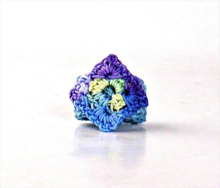 Crochet Ring Fiber Ring Crochet Granny Square Ring Light Blue, Mint