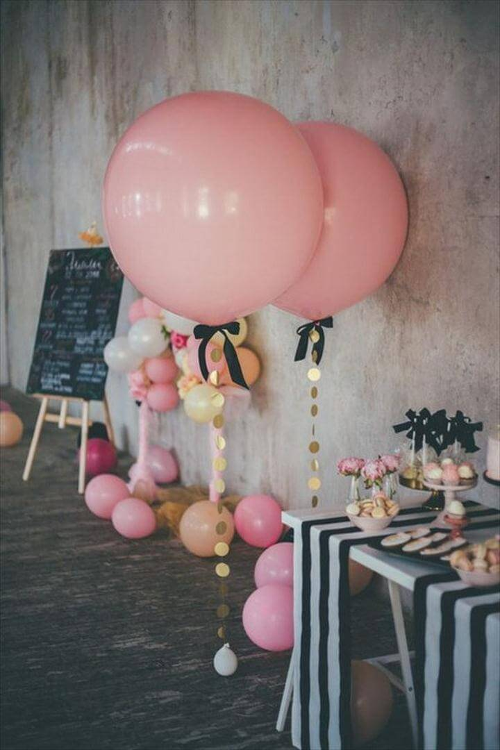 Large Pink Confetti Balloons Decoration