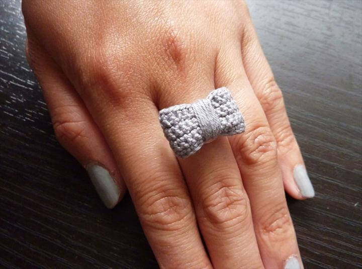 Handmade Crochet Bow Ring Gray