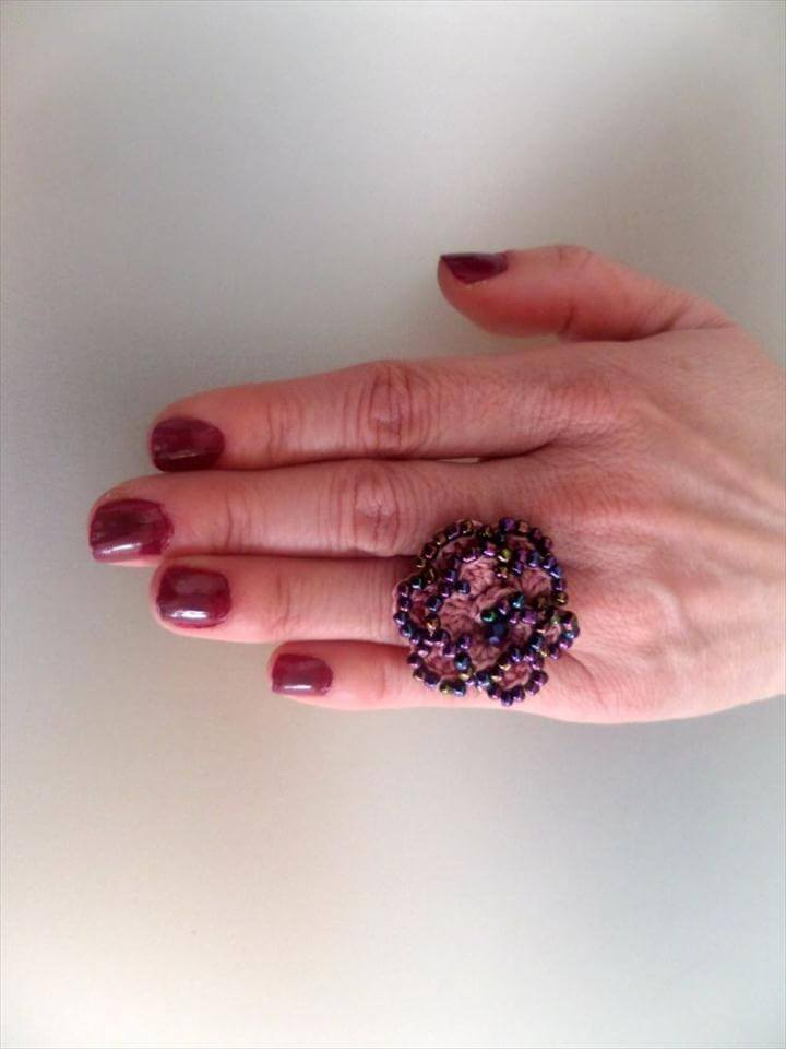 Crocheted Flower Ring, Pink waxed Cord & Colourfull Beads, Celebration Gift, Crocheted Jewelry