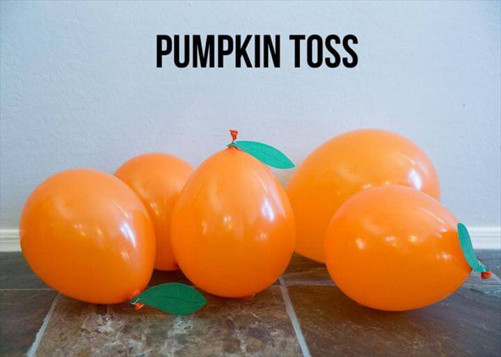 Easy Halloween Game, Pumpkin Balloon Toss