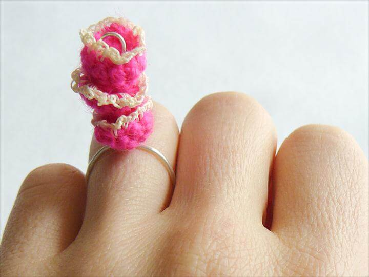 Crocheted Triple Flower Ring
