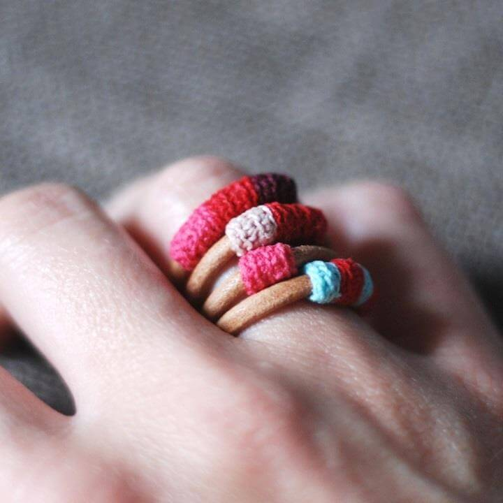 crochet and leather ring