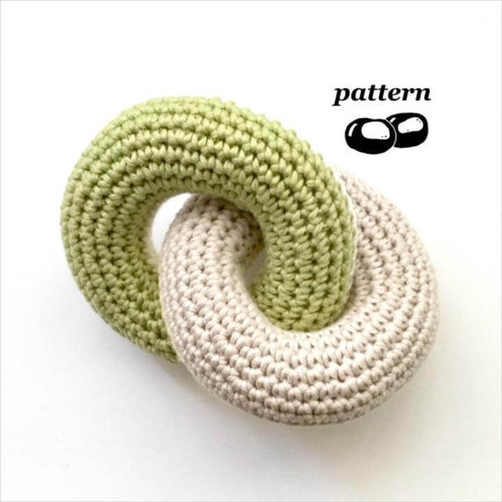 Linked Rings Toy Crochet Pattern, Baby Crochet Patter, Teething Rings Teether Tactile