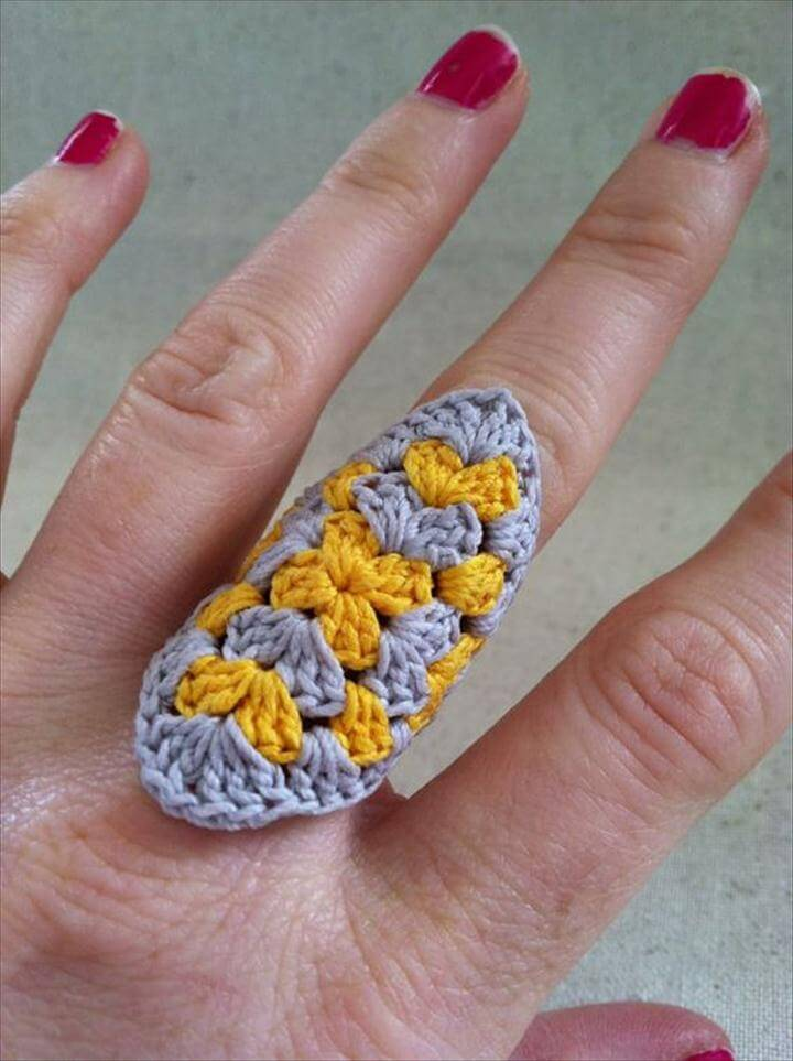 Crocheted Granny Square Ring Yellow and Gray
