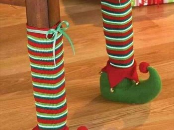 Clever, Over-the-top, Ridiculous Christmas Decor Ideas you would only find on Pinterest. Chair Leg CoversChair