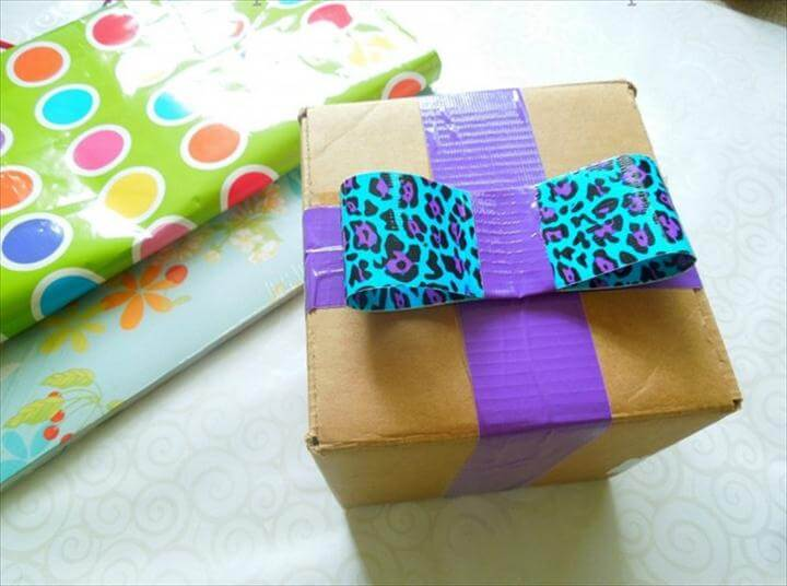 DIY duct tape bow gift wrap