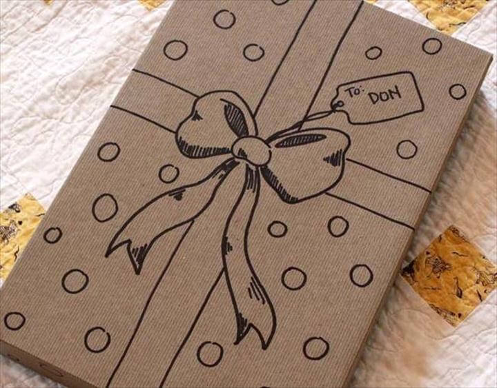 Doodle a bow on the gift box if you don't have a gift wrap