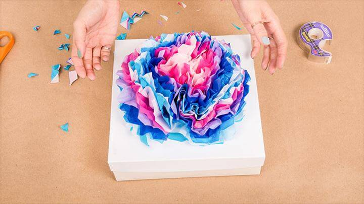 Paper Flowers Gift Wrapping Idea