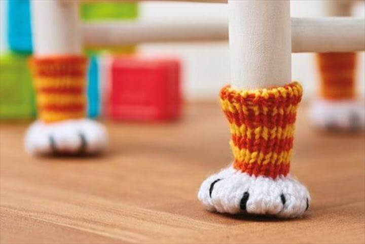 chair socks cat paw cat feet hand knit knitted crochet floor protector funny accessories quirky gift idea unique decor Mother's Day gif