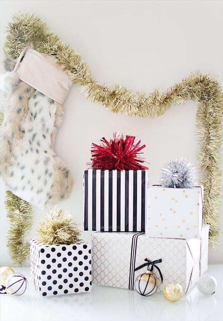DIY Tinsel Gift Topper
