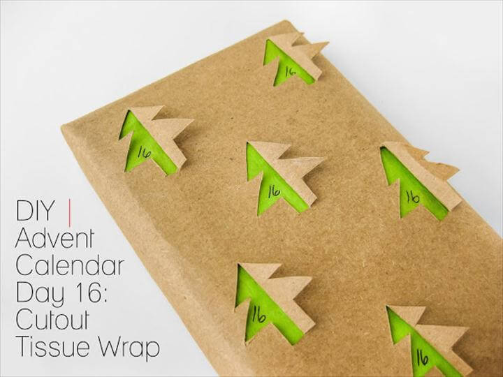 DIY gift wrapping paper with 3D trees