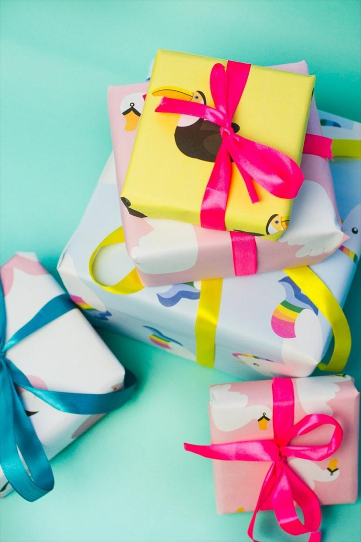 diy colorful gift wrapping ideas