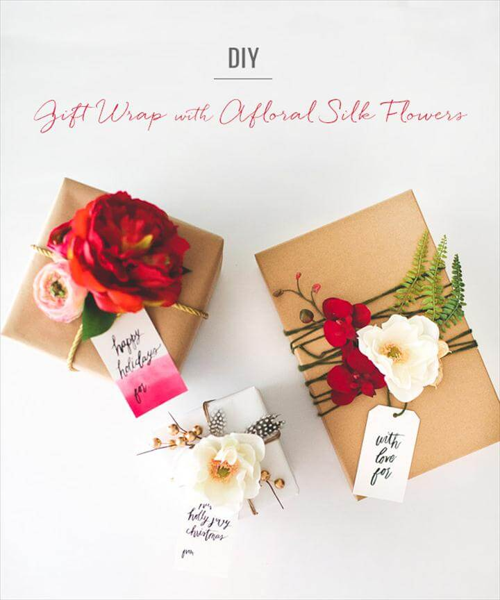 diy silk flower gift wrap