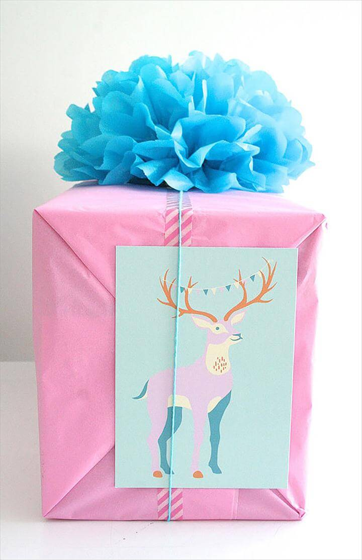 DIY Gift Wrap Ideas: Tissue Paper Pom-Pom