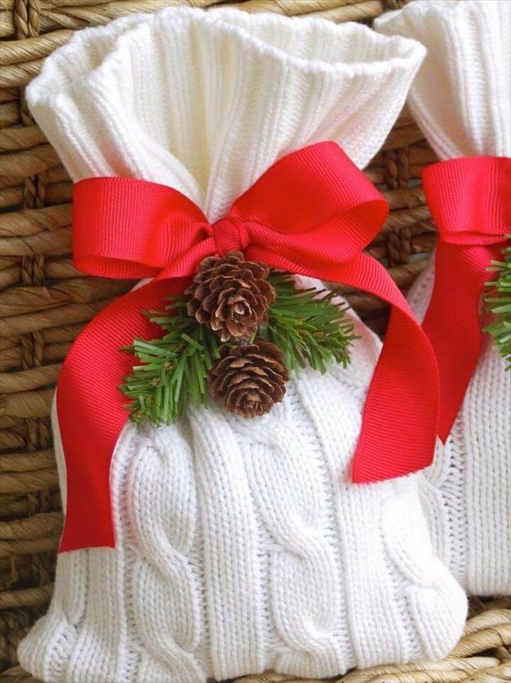 Old Sweater Gift Bag, DIY Gift Wrapping Ideas - How To Wrap A Present - Tutorials, Cool Ideas and