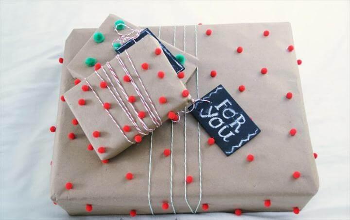 Pom-Pom Gift Wrap