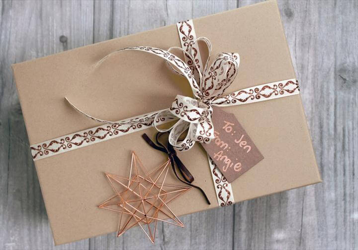 3 Kraft and Copper DIY Gift Wrapping Ideas