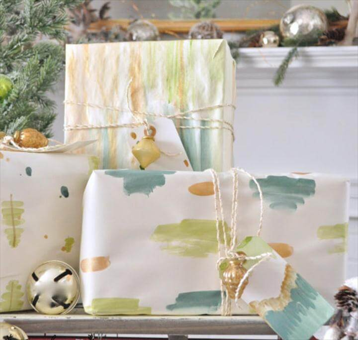 DIY watercolor gift wrap