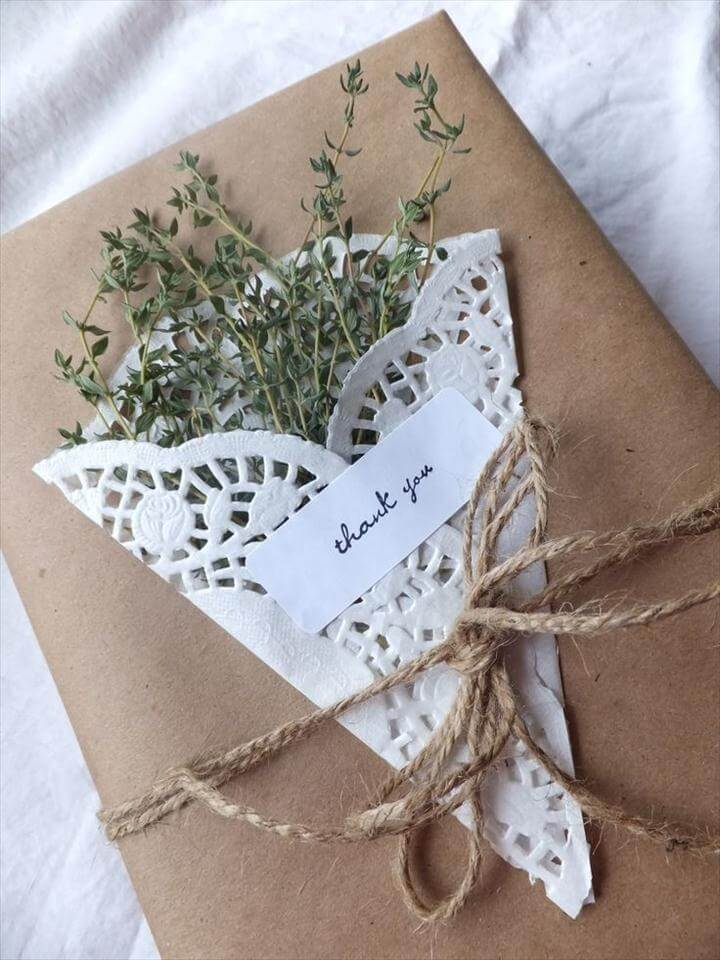 Wrap Herbs in a White Paper Doily for a Beautiful Sweet-Smelling Package