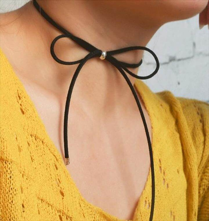 Chokers Jewelry Black Leather Bow Tie