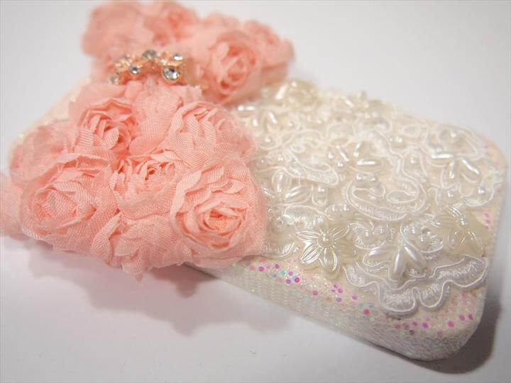 DIY Cute Kawaii Girly Lace Flower iPhone cover
