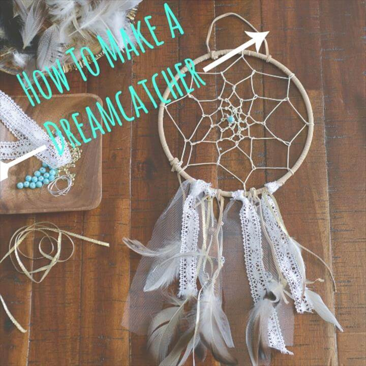 handmade feather and lace dreamcatcher
