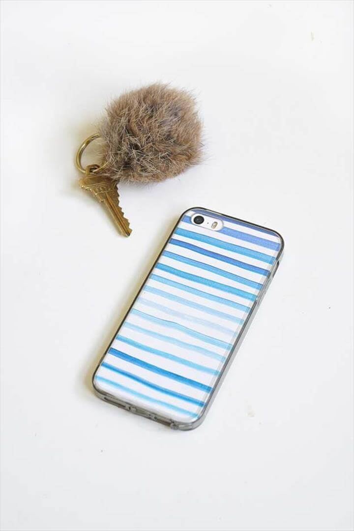 DIY iPhone Case Makeovers - Watercolor Phone Case - Easy DIY Projects and Handmade Crafts Tutorial, DIY Water Color Phone Case