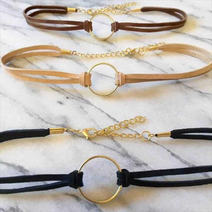 Gold Ring Choker Black Choker with Gold Ring Black
