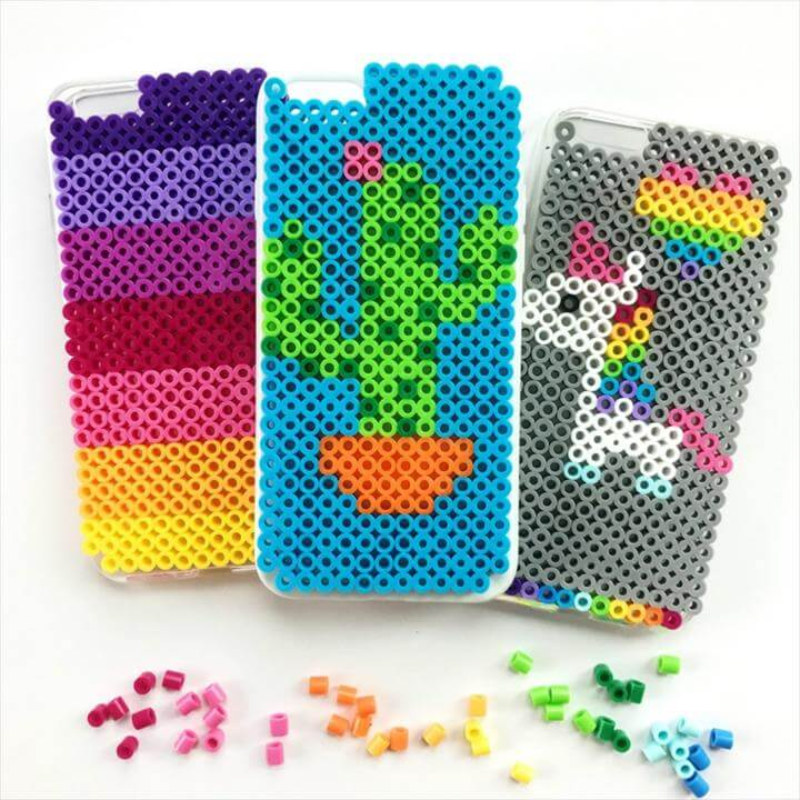 DIY iPhone cases made with perler beads