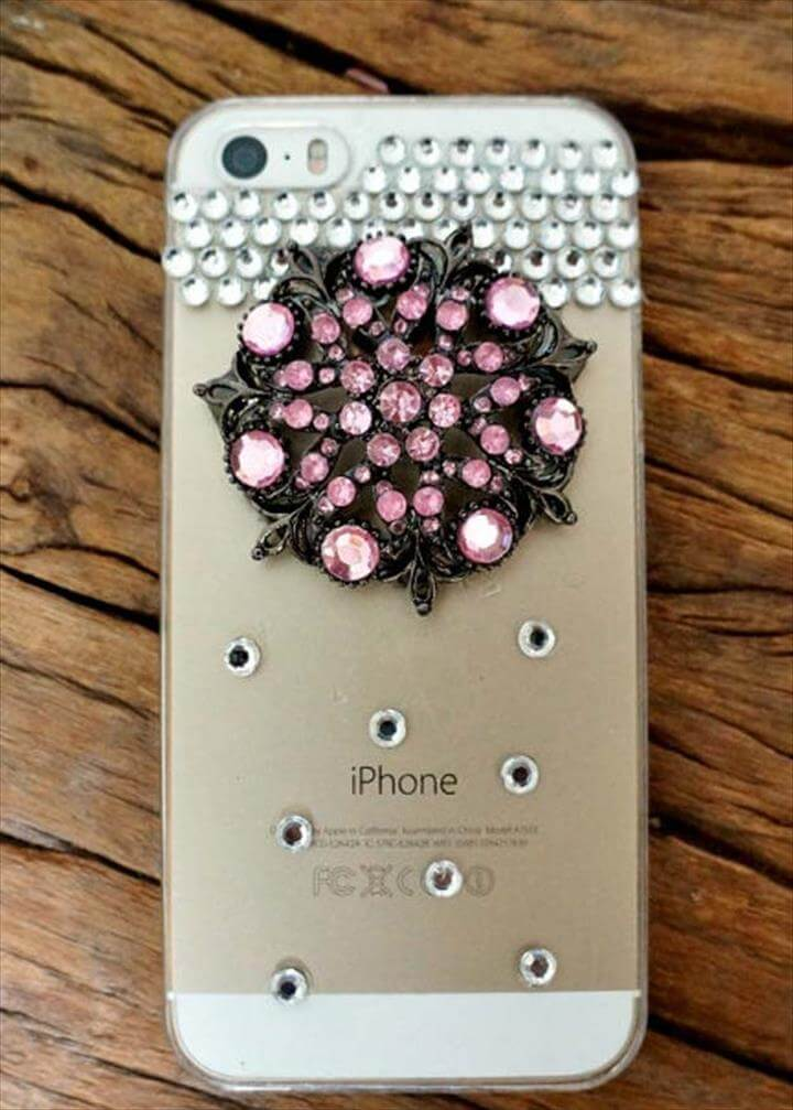 DIY iPhone Case Makeovers - Repurposed Brooch - Easy DIY Projects and Handmade Crafts Tutorial Ideas
